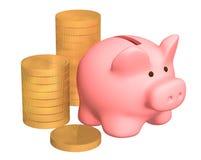 Colunas de moedas de ouro, perto a um porco uma caixa de moeda Imagem de Stock