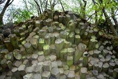 Colunas do basalto - parede de prisma em Baviera, Alemanha fotografia de stock