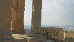 Colunas do erechthion em Atenas, greece video estoque