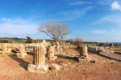 Colunas do templo antigo em Kato Paphos Archaeological Park no Pap Imagem de Stock Royalty Free