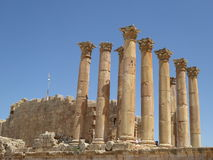 Colunas do Templo de Ártemis, Jerash, Jordânia Imagem de Stock Royalty Free