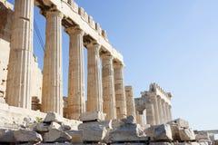 Colunas do templo do Partenon em Atenas Fotografia de Stock Royalty Free