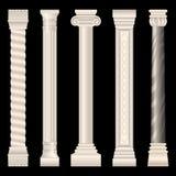Colunas no estilo antigo, barroco, estuque, mármore ilustração stock