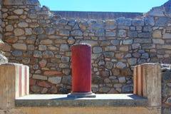 Colunas, palácio de Knossos, Creta, Grécia Imagem de Stock Royalty Free