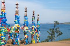 Colunas sagrados da sarja na ilha de Olkhon fotografia de stock