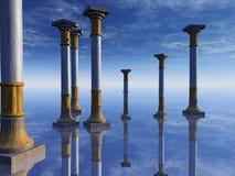 Colunas surreais no horizonte ilustração do vetor