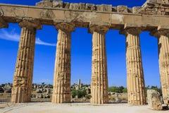 Colunata dórico do templo grego E em Selinus em Selinunte - Sicília, Itália Fotografia de Stock