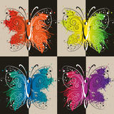 Colurful butterflies. Set of colorful butterflies with splashes Stock Photography