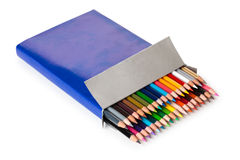 Colurful pencils in a box. Stock Images