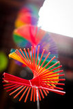 Colurful Spiral. A colourful Asian ornament spiral hanging down Royalty Free Stock Images