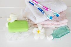 Colutório, cuidados médicos da escova de dentes para a cavidade oral foto de stock