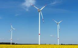 Colza oléagineux de floraison avec des usines éolienne photos stock