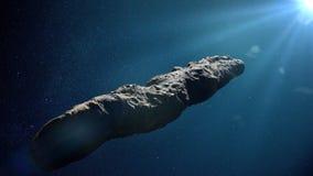 Comète d'Oumuamua, objet interstellaire passant par le système solaire, rendu en forme d'étoile formé peu commun de l'espace 3d illustration de vecteur