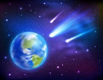 Comètes venant au fond de la terre illustration de vecteur