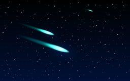 Comètes volant par l'espace Photographie stock