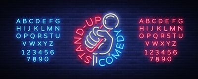 A comédia está acima o convite é um sinal de néon Logotipo, inseto brilhante do emblema, cartaz claro, bandeira de néon, anúncios ilustração stock