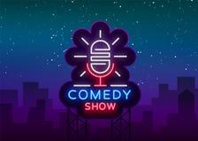 A comédia está acima o convite é um sinal de néon Logotipo, inseto brilhante do emblema, cartaz claro, bandeira de néon, noite br ilustração royalty free