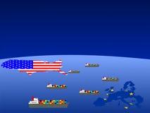 Comércio do americano e da UE Fotografia de Stock Royalty Free