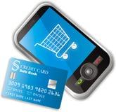 Comércio electrónico móvel ilustração stock