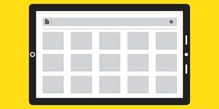 Comércio eletrónico App mostrado em uma tabuleta foto de stock