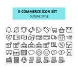 Comércio eletrônico, mercado do Internet, grupo do ícone no pixel perfeito Esboço ou linha estilo dos ícones ilustração stock
