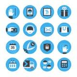 Comércio eletrônico e ícones em linha da compra ajustados Fotografia de Stock