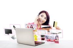 Comércio eletrônico e compra em linha Fotografia de Stock Royalty Free