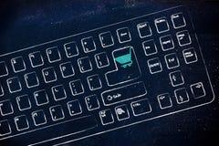 Comércio eletrônico e compras em linha: teclado com carrinho de compras sobre Fotos de Stock Royalty Free