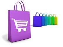 Comércio eletrônico em linha dos sacos de compras da Web Fotos de Stock