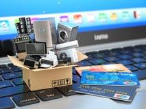 Comércio eletrônico ou conceito em linha da compra ou da entrega ilustração do vetor