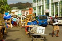 Comércio na rua dianteira em kingstown, st vincent Fotos de Stock
