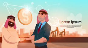 Comércio Pumpjack Rig Platform Black Wealth Concept de Rich Arab Business Man Oil Foto de Stock