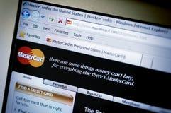 com互联网主要万事达卡网站 图库摄影