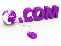 公司的域名显示全球资讯网和 com 免版税库存照片