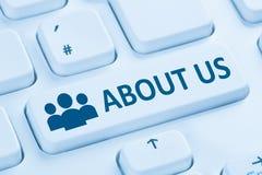 COM bleue d'Internet de présentation de société d'infos de l'information de qui sommes-nous image libre de droits