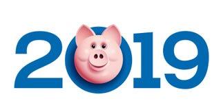 2019 com cara do porco Cumprimentos chineses do ano novo foto de stock royalty free