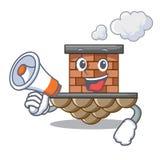 Com a chaminé do tijolo do megafone na mascote da forma ilustração royalty free