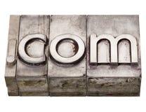 COM de point - domaine d'Internet dans le type d'impression typographique images stock
