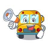 Com desenhos animados do caráter do ônibus escolar do megafone ilustração stock