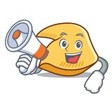 Com desenhos animados do caráter da cookie de fortuna do megafone ilustração royalty free