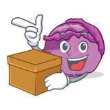 Com desenhos animados do caráter da couve vermelha da caixa Fotografia de Stock