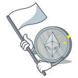 Com desenhos animados do caráter da moeda de Ethereum da bandeira ilustração royalty free