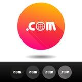 COM do domínio assina botões 5 símbolos níveis mais alto do domínio do Internet do vetor dos ícones Imagens de Stock Royalty Free