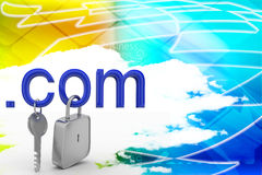 .com Domain With Lock and Key Illustrated Royalty Free Stock Photos