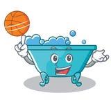 Com estilo dos desenhos animados do caráter da banheira do basquetebol ilustração stock