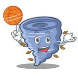 Com estilo dos desenhos animados do caráter do furacão do basquetebol Fotografia de Stock Royalty Free