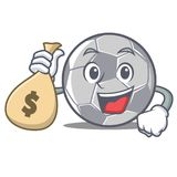 Com estilo dos desenhos animados do caráter do futebol do saco do dinheiro ilustração do vetor