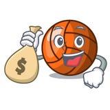 Com estilo dos desenhos animados do caráter do voleibol do saco do dinheiro ilustração stock