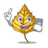 Com a folha do vidoeiro do telefone na forma da mascote ilustração do vetor