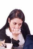 com frontowego laptopu spojrzenia rozważny pracownik Fotografia Stock